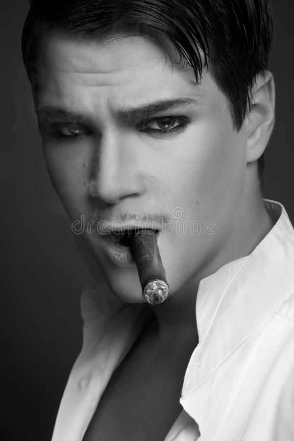 Download Man with cigar stock image. Image of charming, sensual - 14410195