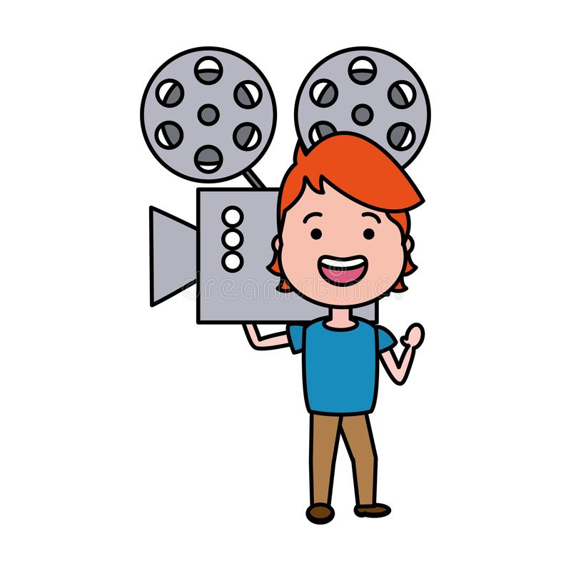 Man with cinema projector avatar character stock illustration
