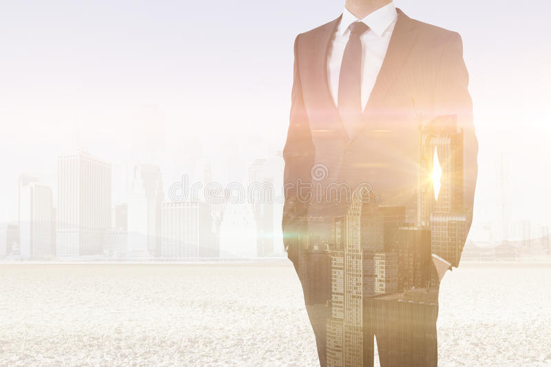 Man on city background multiexposure. Man in suit and tie on abstract city background. Double exposure vector illustration
