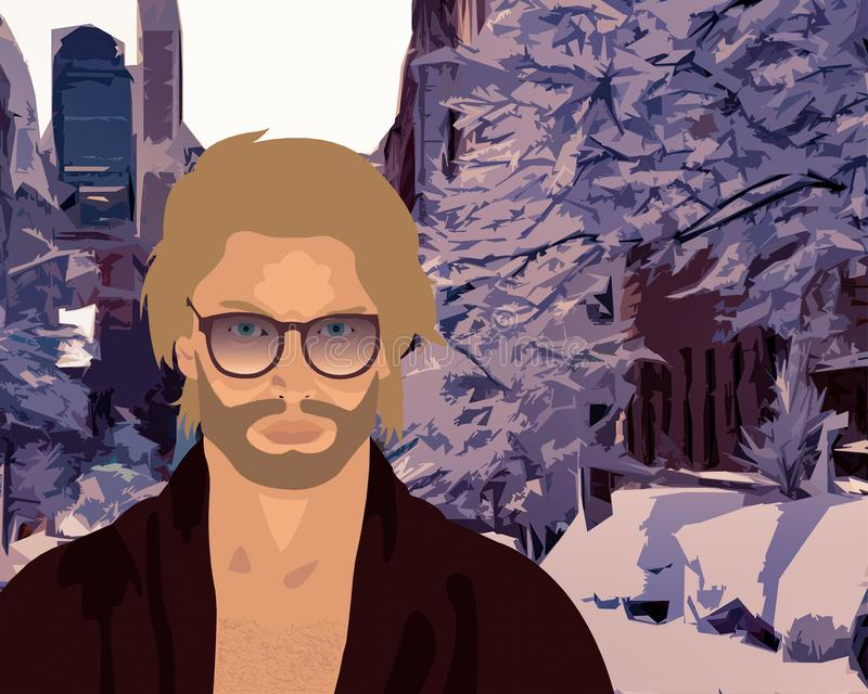 Snow in the city vector illustration