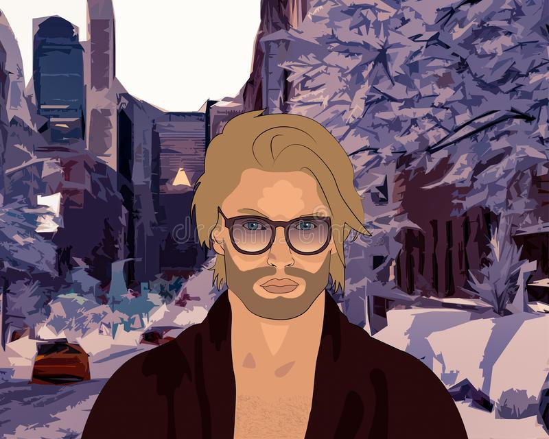 Snow in the city stock illustration