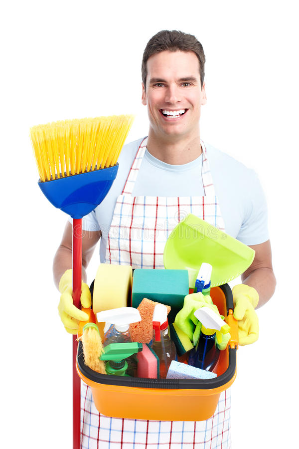 Download Man cleaner. stock photo. Image of broom, mess, lifestyle - 32541800