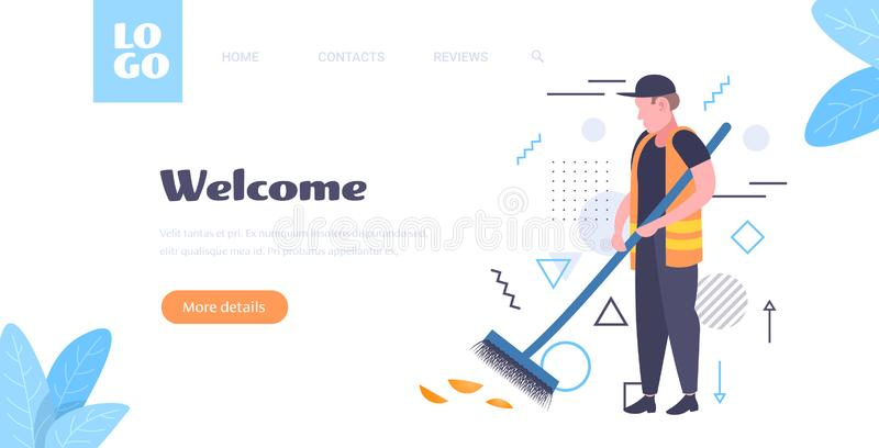 Man cleaner sweeping road from leaves with broom male janitor in uniform cleaning service concept full length sketch. Horizontal copy space vector illustration vector illustration