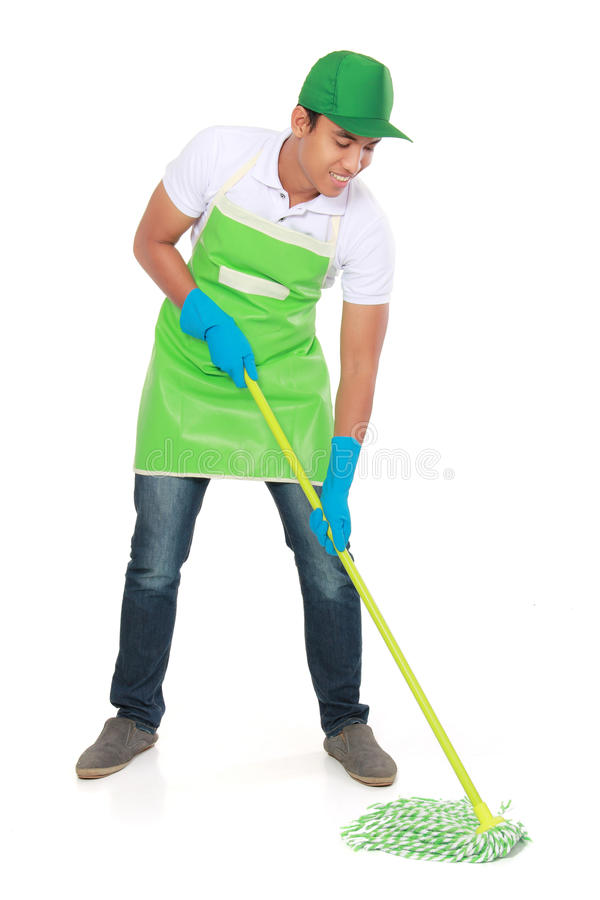Man cleaning floor royalty free stock image