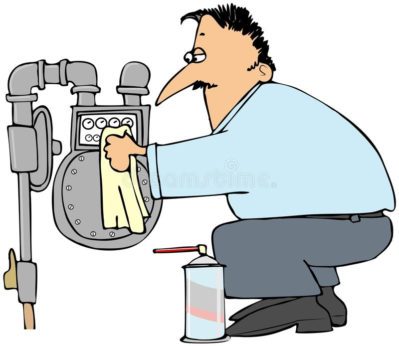 Download Man cleaning a gas meter stock illustration. Illustration of serviceman - 35544100