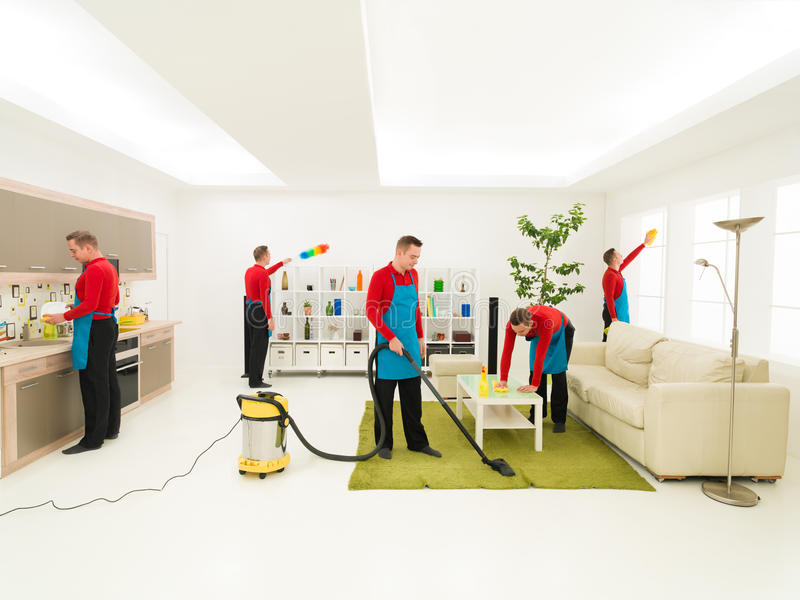 Man cleaning home royalty free stock photos