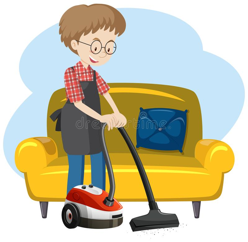 A Man Cleaning the House royalty free illustration