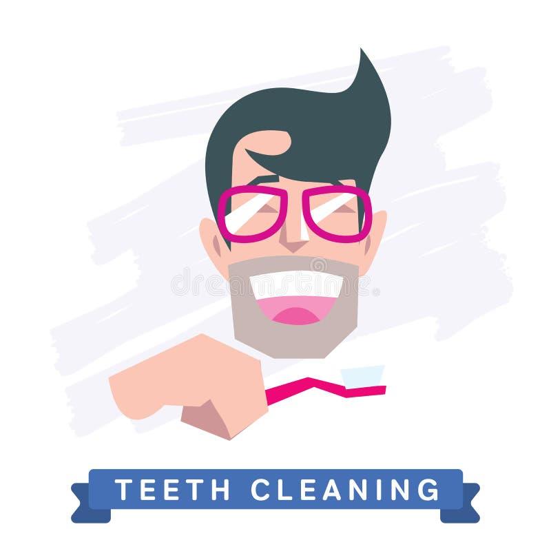 Man cleaning teeth. Beautiful white teeth smile. stock illustration