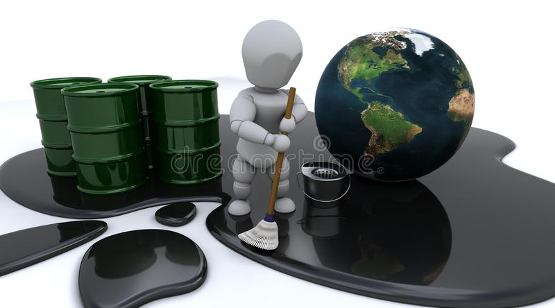 Man cleaning up oil spill stock illustration