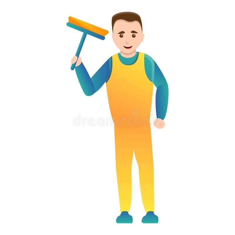 Man cleaning window icon, cartoon style stock illustration