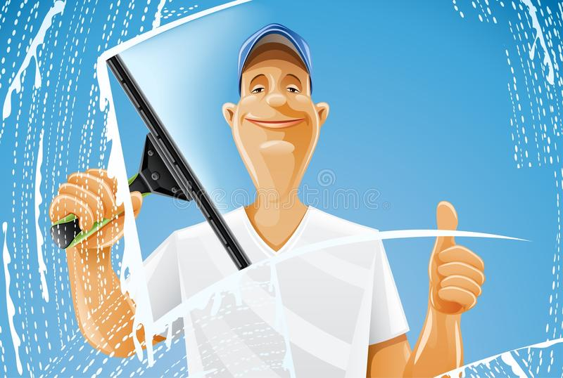 Download Man Cleaning Window Squeegee Spray Stock Vector - Illustration of foam, labour: 20001495