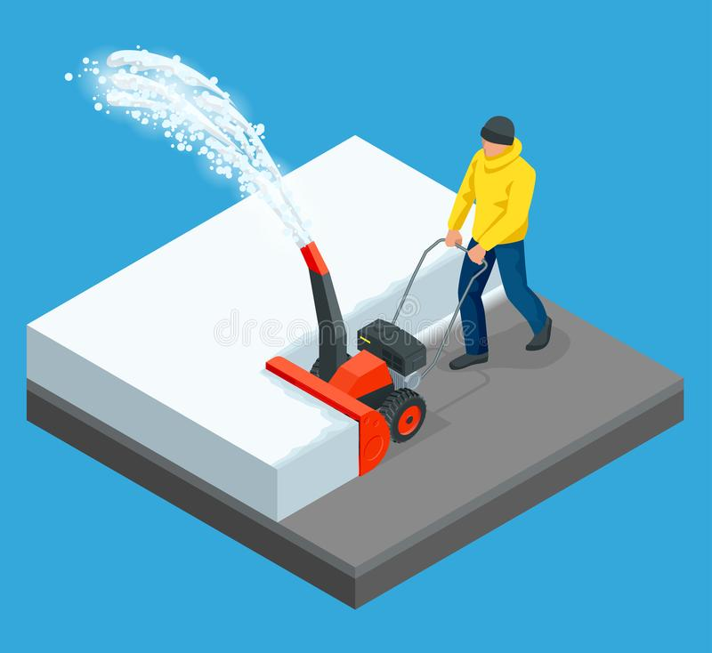 A man cleans snow from sidewalks with snowblower. City after blizzard. Isometric vector illustration stock illustration