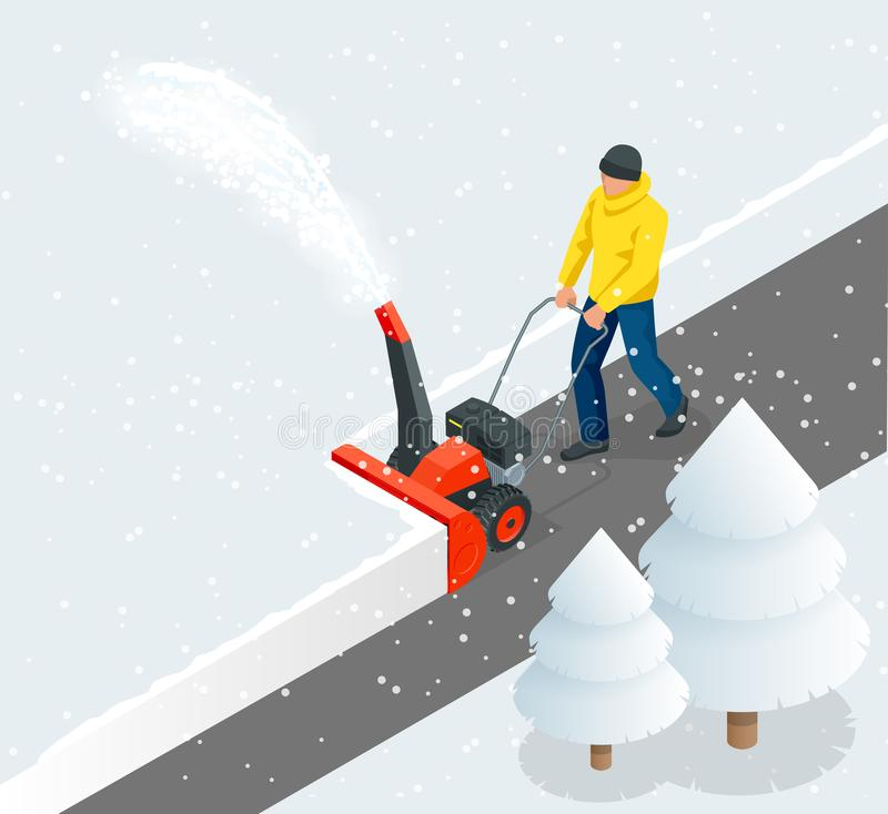 A man cleans snow from sidewalks with snowblower. City after blizzard. Isometric vector illustration. stock illustration