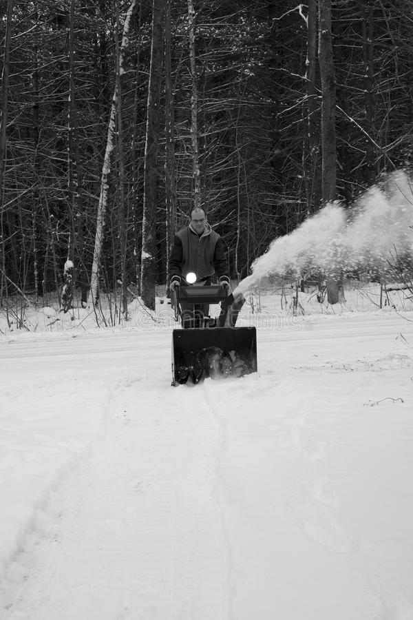 Download Man Clearing Driveway With Snow Blower Stock Image - Image: 17732551
