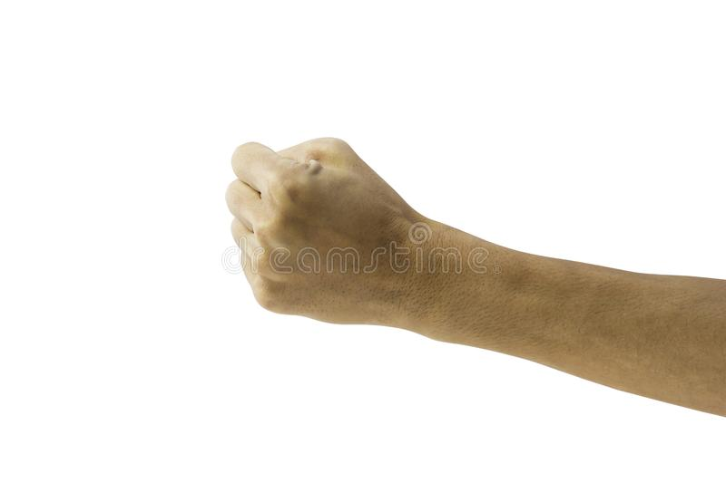 Man clenched fist to punch isolated on white background. Hand gesture. Clipping path royalty free stock photos