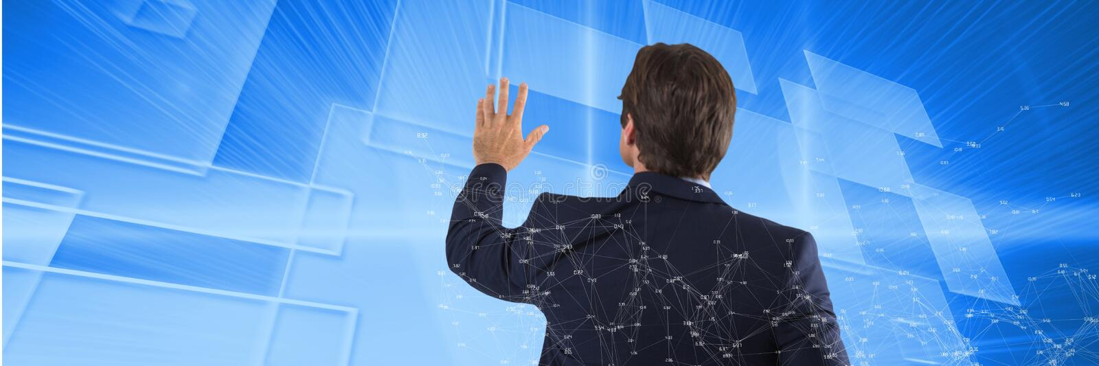 Man clicks blue pictures with connections overlay. Digital composite of Man clicks blue pictures with connections overlay royalty free illustration