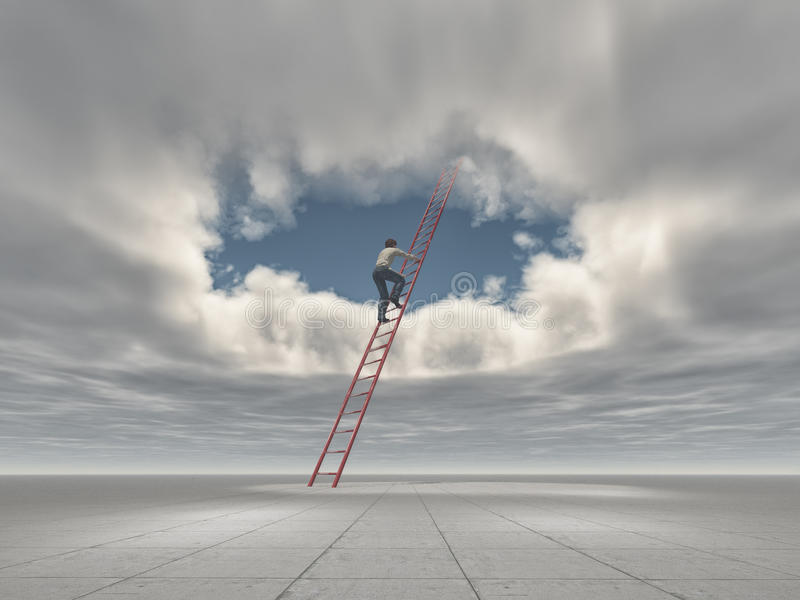 Man climb a ladder to a hole in the sky. This is a 3d render illustration stock illustration