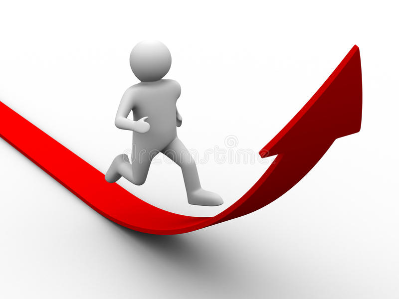 Download Man climb red arrow stock illustration. Image of arrow - 13558391