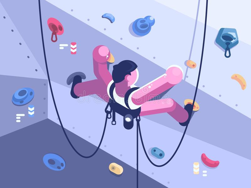 Man climber climbs difficult route. On artificial wall in competitions. Vector illustration vector illustration