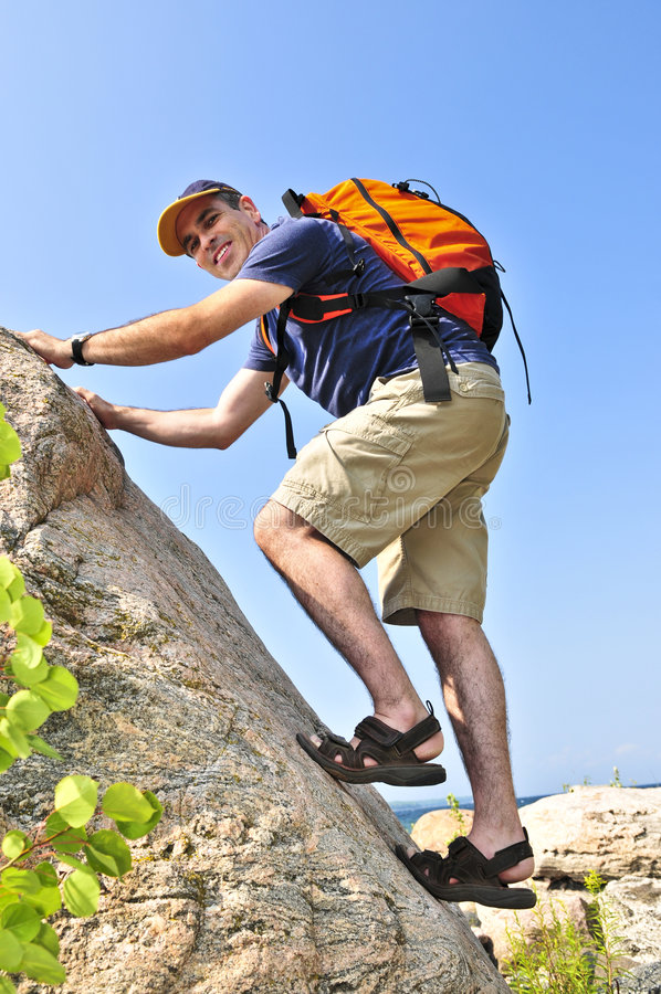 Download Man climbing stock image. Image of hiking, backpacking - 6218459