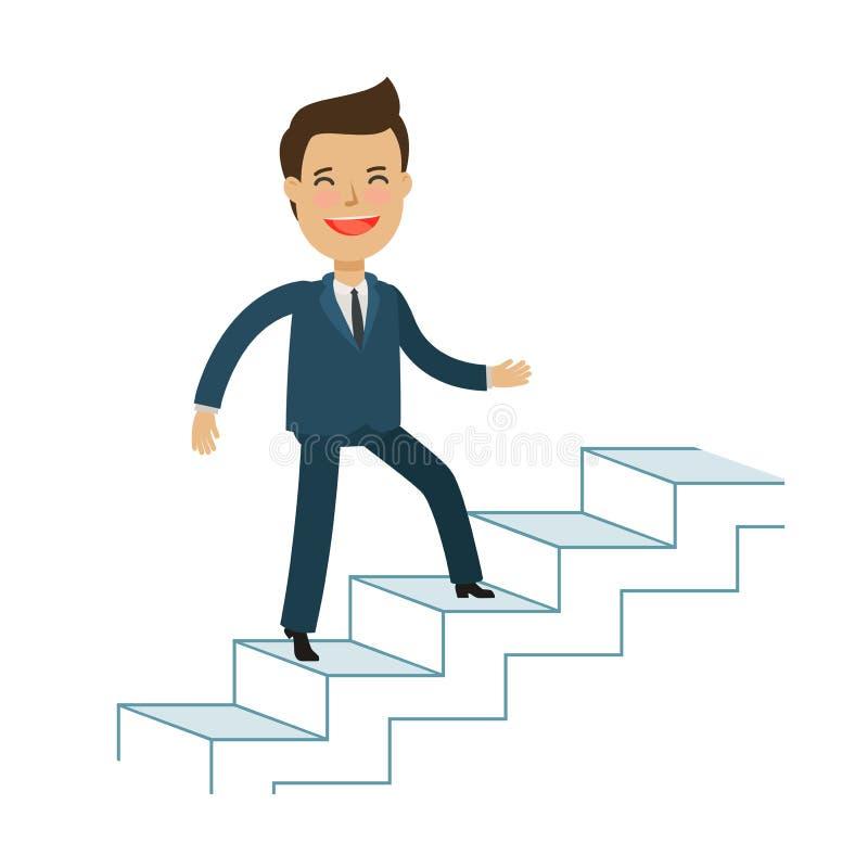 Man is climbing career ladder. Business concept. Cartoon vector illustration stock illustration