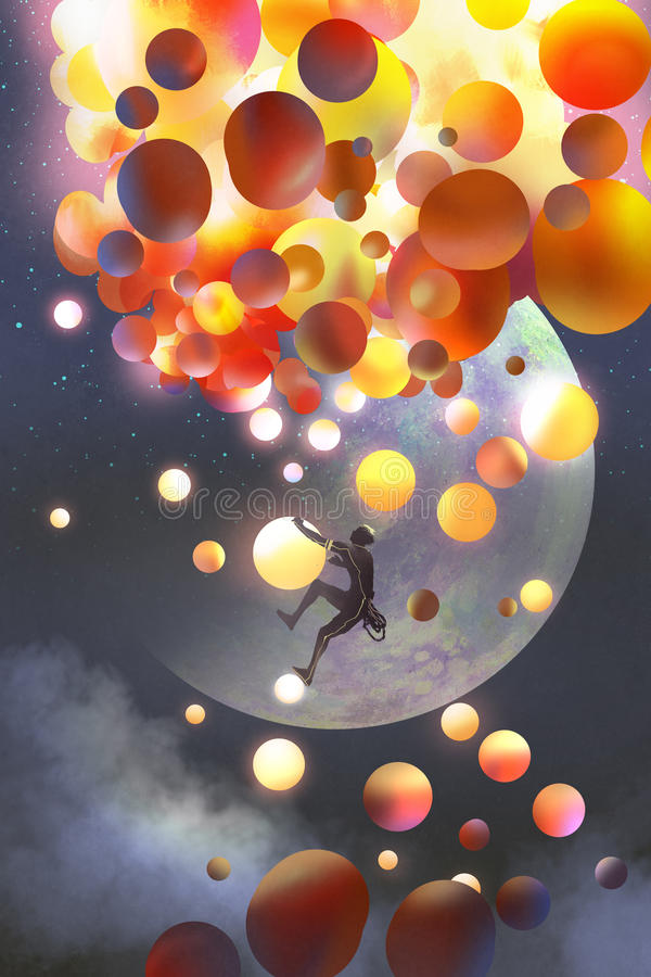 A man climbing fantasy balloons against fictional planets background. Illustration painting royalty free illustration