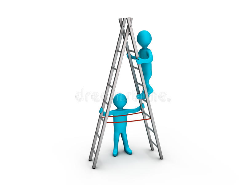 Download Man Climbing Ladder And Another Helping Him Stock Illustration - Illustration of steps, steady: 20324177