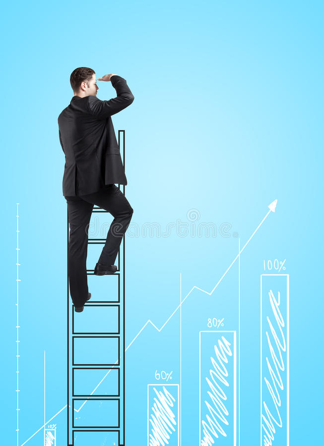 Man climbing. On ladder and looking on busines chart royalty free stock images