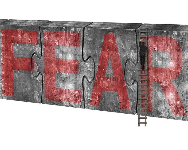 Man climbing ladder puzzles concrete wall red fear word. Man climbing ladder conquering huge puzzles concrete wall with red fear word, isolated on white stock image