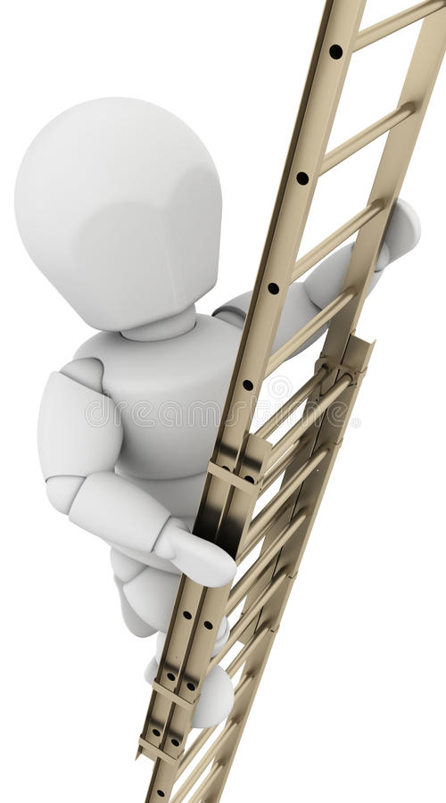 Man climbing a ladder to achieve success vector illustration