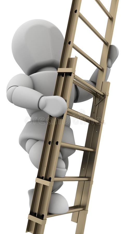 Man climbing a ladder to achieve success royalty free illustration