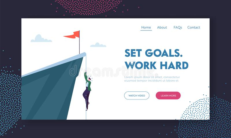 Man Climbing on Mountain with Red Flag on Top. Business Character Trying to get Success. Goal Achievement, Leadership, Motivation royalty free illustration