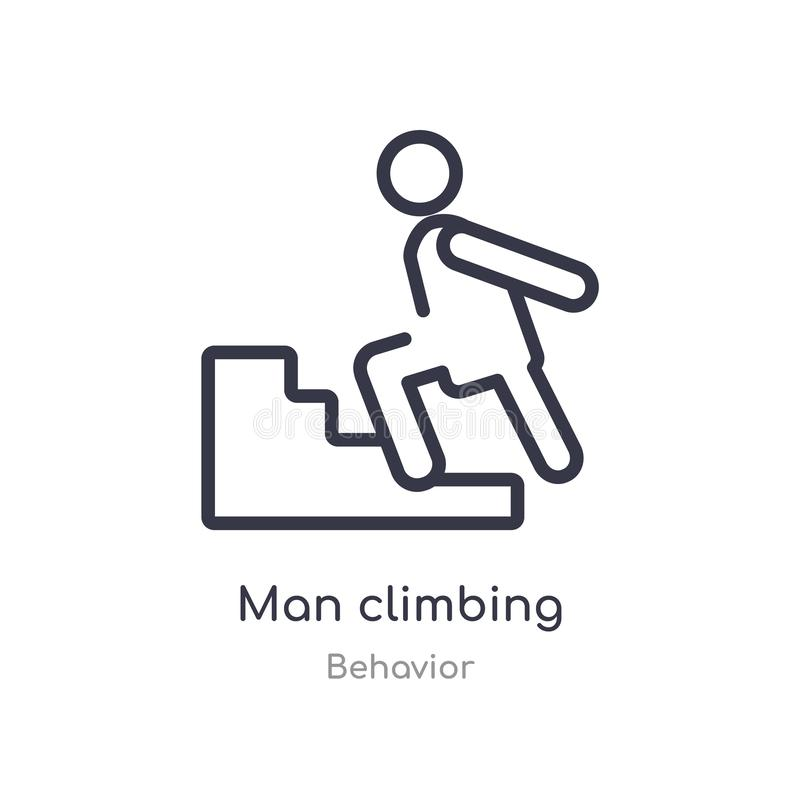 man climbing outline icon. isolated line vector illustration from behavior collection. editable thin stroke man climbing icon on stock illustration