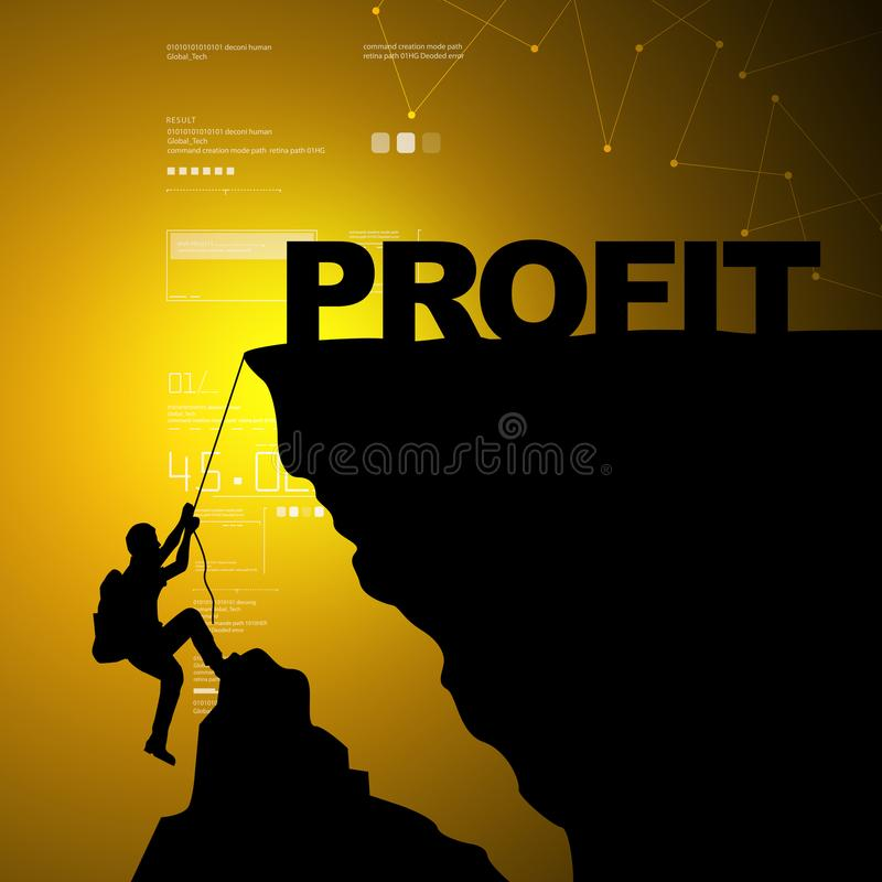 Man climbing for profit. In color background vector illustration