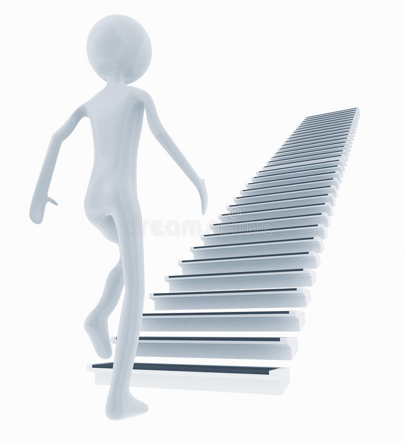 Man climbing the stairs royalty free illustration