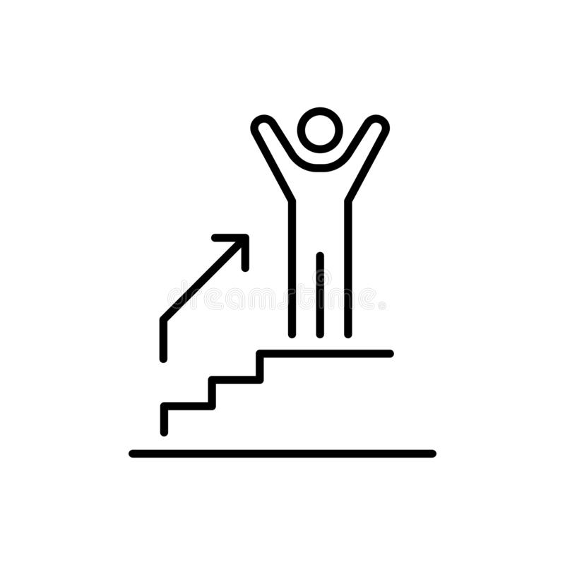 Man climbing on the stairs steps icon business people icon simple line flat illustration vector illustration
