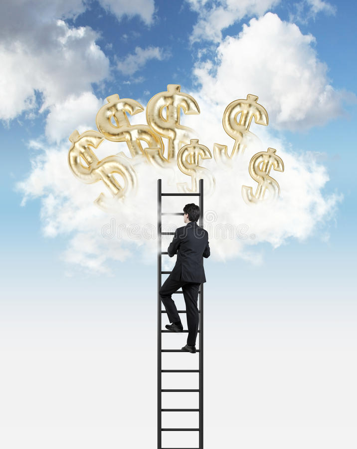 Man is climbing to the clouds to get air balloons in a form of golden dollar signs. Businessman is climbing to the clouds to get air balloons in a form of stock images