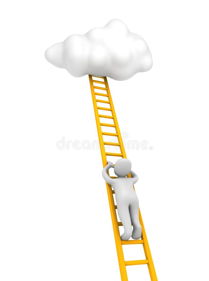 Free Man Climbing To The Cloud Stock Images - 15898134