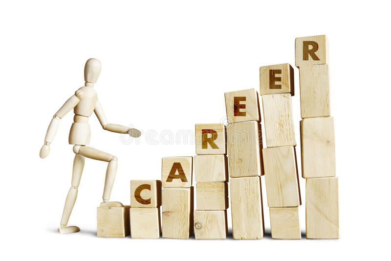 Man climbing up the career ladder stock images