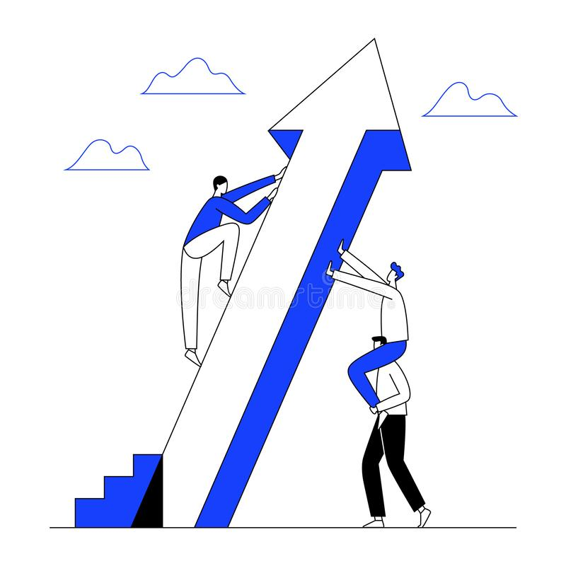 Man climbs the rising arrow with teamwork help to success. Business growth, progress concept. Line with editable stroke. Vector vector illustration