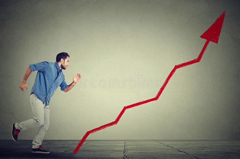 Man climbs running up career ladder graph. Business man climbs running up career ladder graph stock photos