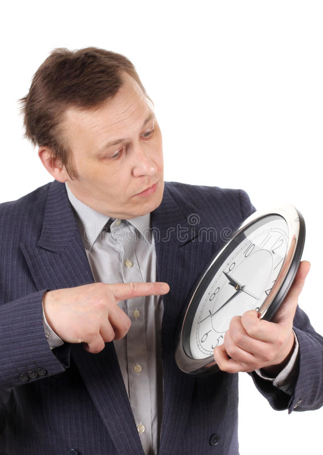 Man With Clock Royalty Free Stock Image