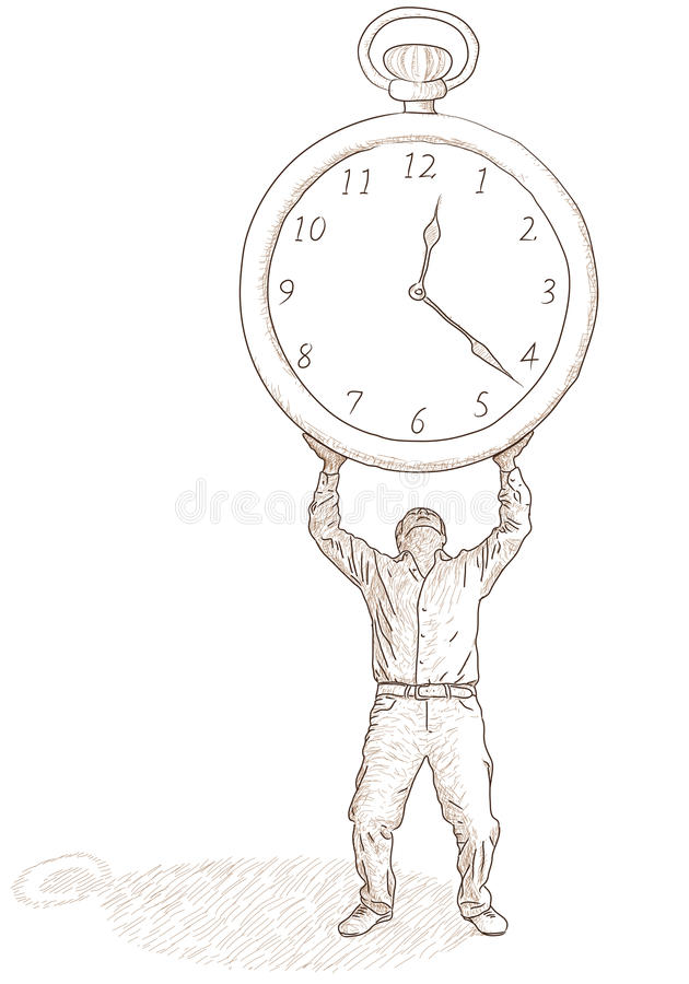 Download Man and clock stock vector. Image of observe, concept - 25037787