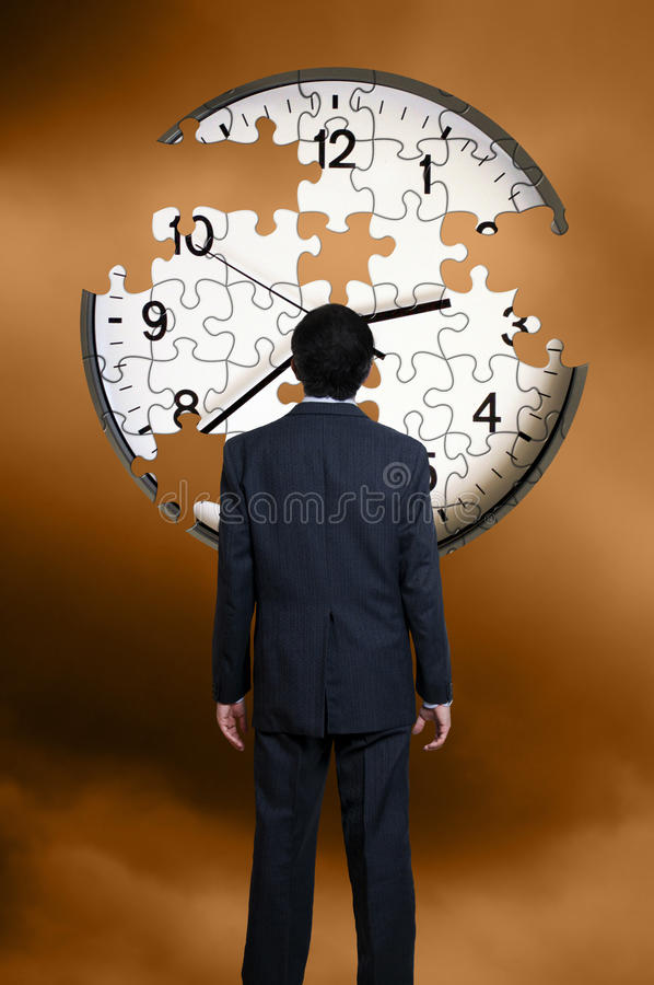 Download Man and clock puzzle stock image. Image of standing, missing - 15029431