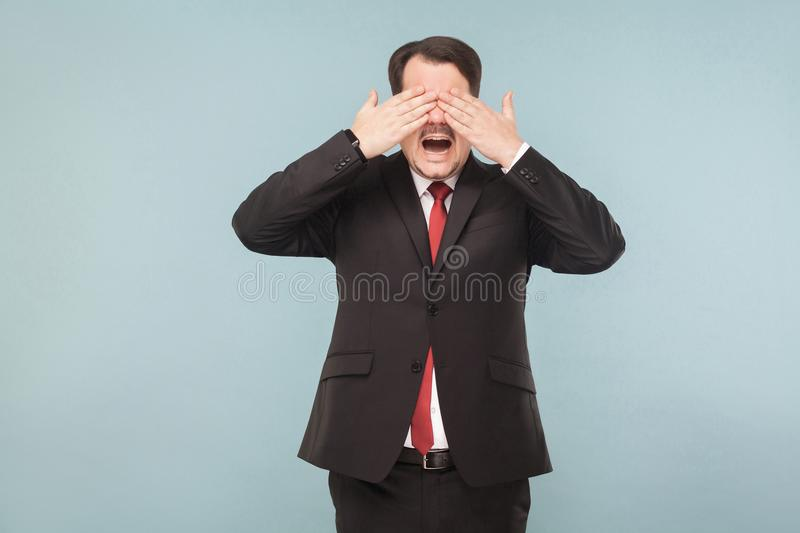 Man closed eyes and don`t see any more royalty free stock photos