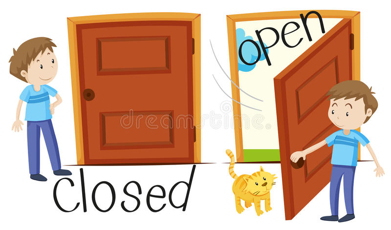 Man by closed and opened door royalty free illustration