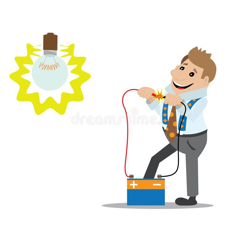 The Man Closes The Electrical Contacts Stock Vector - Illustration ...