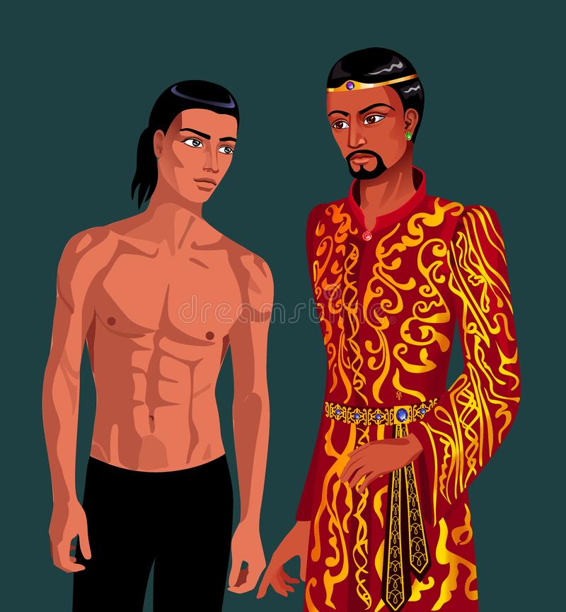 A man without clothes and a man in gilded clothes Eastern appearance standing next royalty free stock image