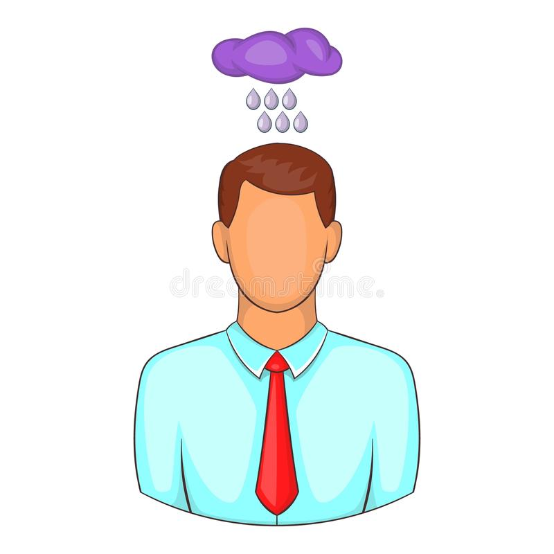 Man with cloud over his head icon, cartoon style stock illustration