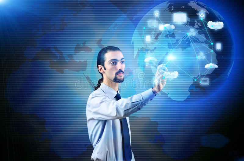 The man in cloup computing concept. Man in cloup computing concept stock photography